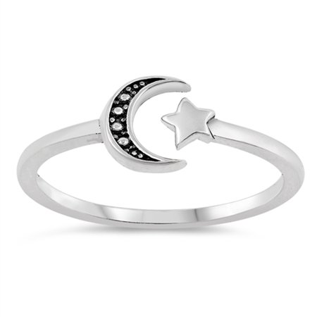 Antiqued Sun Moon Midi Knuckle Dainty Ring .925 Sterling Silver Band Size 5 (Silver Above Knuckle Rings)