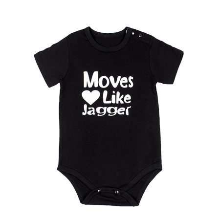 StylesILove Cute Character Baby Boy Short-Sleeve Jumpsuit (90/12-18 Months, Moves Heart Like Jagger)