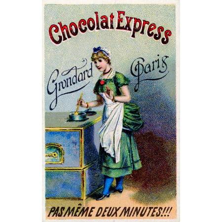 Ephemera Chocolat Express advertising card Canvas Art - Unknown (24 x 36)
