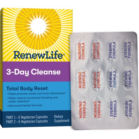 Renew Life Adult Cleanse - Total Body Reset, Advanced Herbal Formula - 3 Part, 3-Day Program