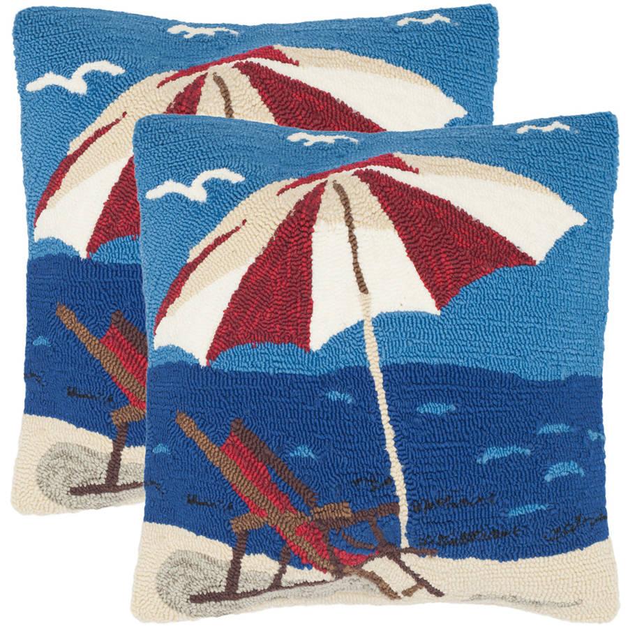 "Safavieh Beach Lounge 20"" x 20"" Marine/Red Indoor/Outdoor Pillow, Set of 2"