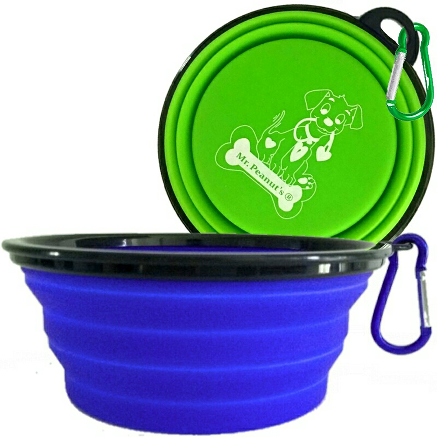 XL Collapsible Dog Bowls by Mr. Peanut's, 2 Pak, Extra Large 34oz, 7' Diameter for Large Dogs, Dishwasher Safe BPA FREE Food Grade Silicone, Portable Foldable Travel Pet Bowls for Journeys & Hikes