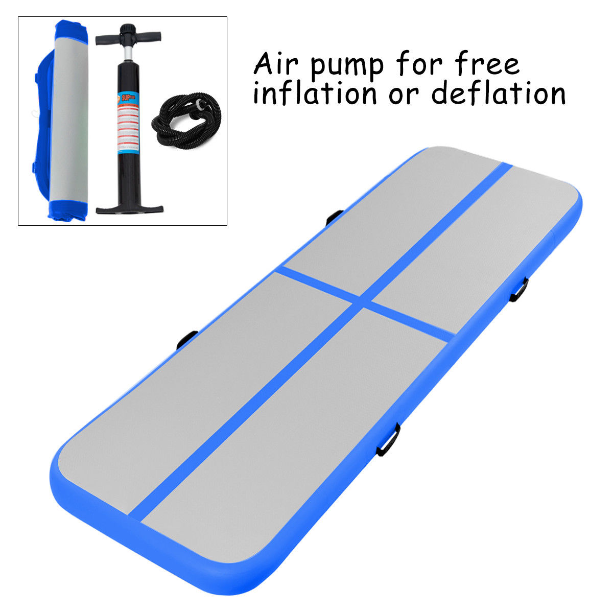 Goplus 13' Inflatable Gymnastics Mat Air Track Floor Mat Water Buoyancy with Pump Blue