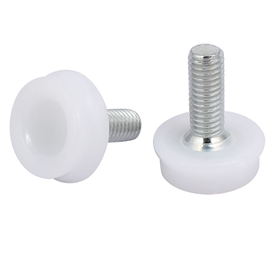 M8x20mm Plastic Base Furniture Glide Leveling Foot White Silver Tone 12pcs - image 1 of 2