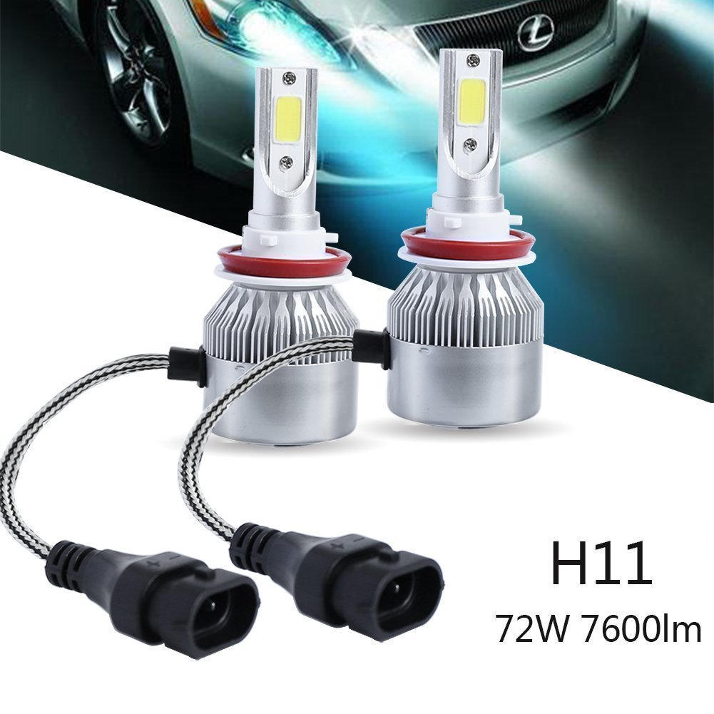 Tagital LED Headlight Kit H8 H9 H11 72W 7600LM 6000K Low Beam Fog Bulb HID White