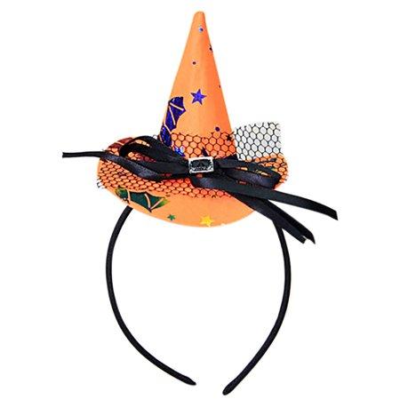 Pumpkin Stem Headband (Halloween Unique Design Spider Pumpkin Bats Ghosts Cap Hoop Short Plush)
