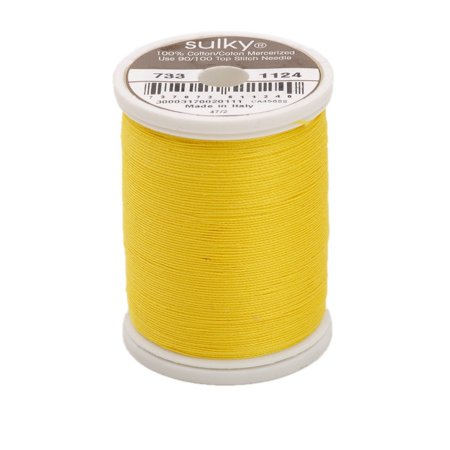 King Spool - 400d 30wt Cotton Thread, 500 yd, Sun Yellow, King Snap Spool. 100% Long Staple Matte Finish By Sulky Of America