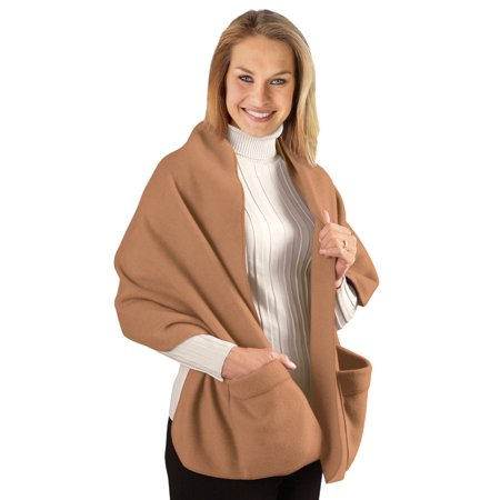 Cozy Fleece Wrap Shawl With Large Front Pockets - Keeps Hands and Shoulders Warm During Cold Winter -