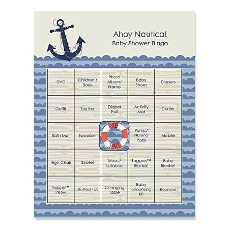 Ahoy Nautical - Baby Shower Game Bingo Cards - 16 Count