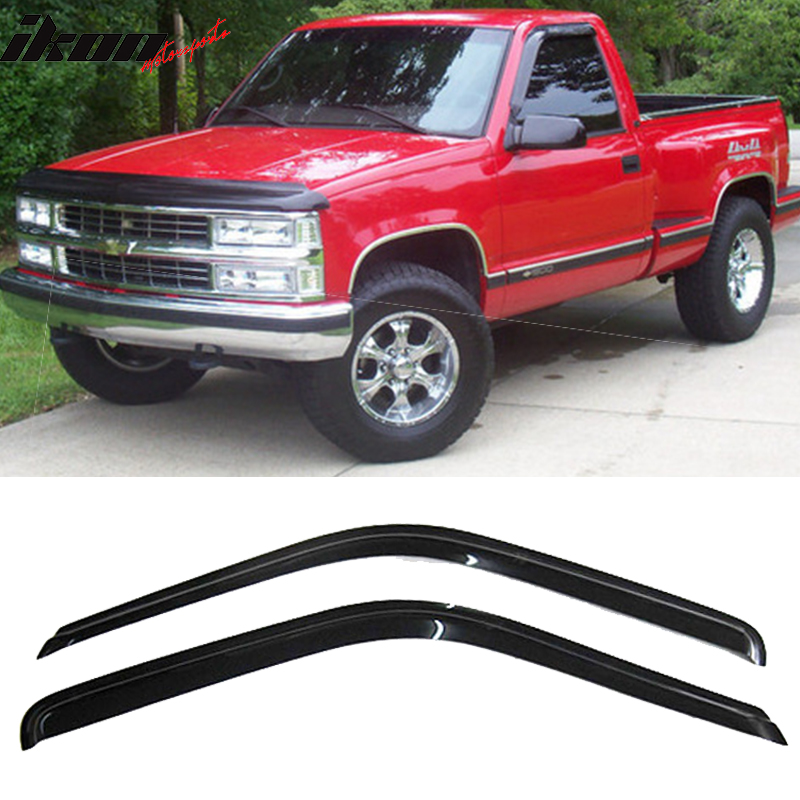 Fits 88-98 GMC C K 95-99 Tahoe 92-99 GMC Yukon Acrylic Window Visors 2Pc Set