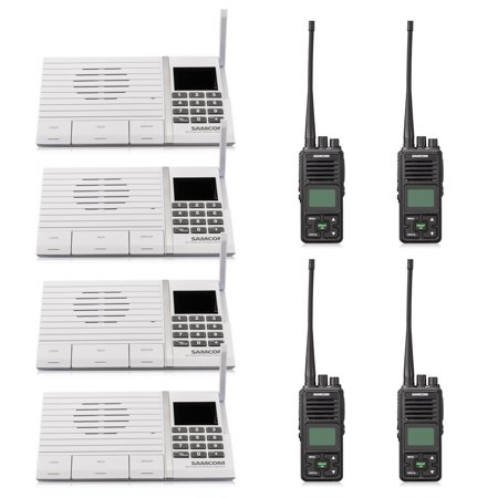 Samcom 20 Channel with Group Button Wireless intercom Walkie Talkie,UHF 400-470MHz Two Way Radio with 3km Range(4 Black +4 White)