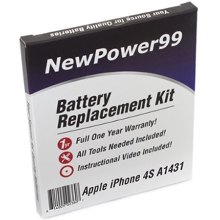 Apple iPhone 4S A1431 Battery Replacement Kit with Tools, Video Instructions, Extended Life Battery and Full One Year Warranty ()