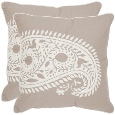 Safavieh Pillows Collection Paisley Decorative Pillow, 20-Inch, Neutral, Set of 2 by