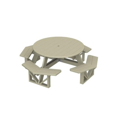 Eco Friendly Furnishings Patio Octagon Picnic Table Khaki