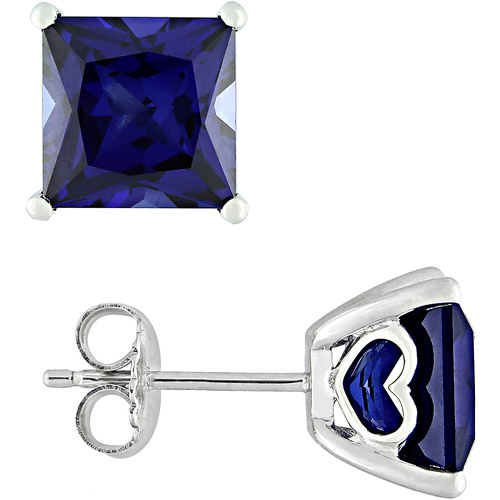 5.6 Carat T.G.W. Square Cut Sapphire Sterling Silver Fashion Earrings