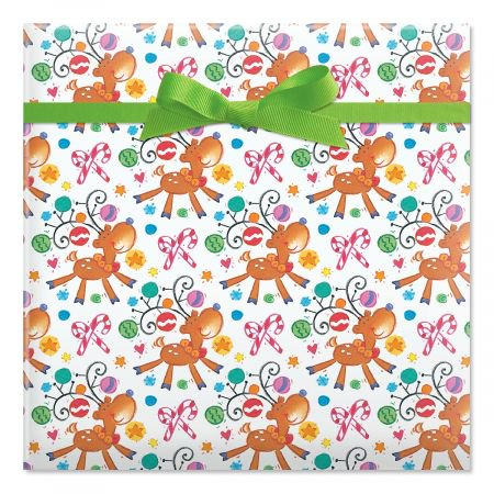 On Prancer Jumbo Rolled Christmas Gift Wrap- 1 Giant Roll, 23 Inches Wide by 35 feet Long, Heavyweight, Tear-Resistant, Holiday Wrapping Paper