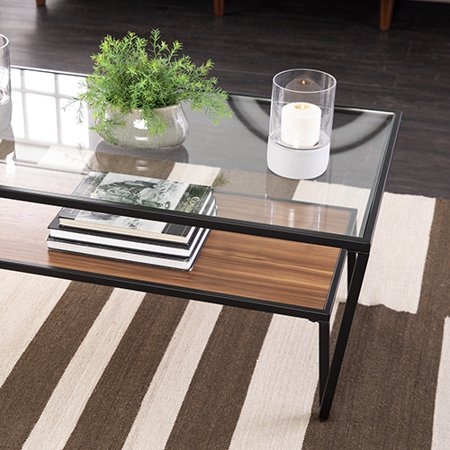 Harzen ModernGlass-Top Cocktail Table, Natural and Black