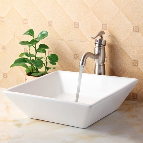 Elite Ceramic Square Vessel Bathroom Sink