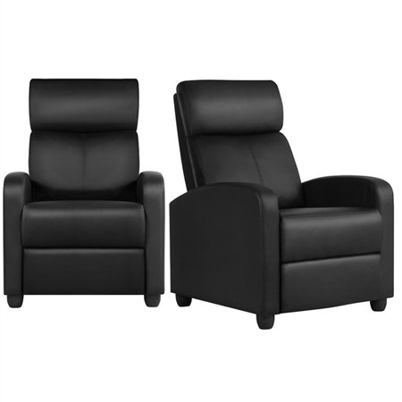 Set of 2 Sofa Recliner Chair Home Theater Seating Chair with Pocket Spring Black