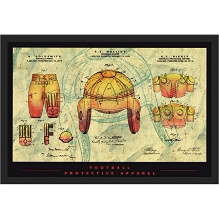 buyartforless FRAMED Football Protective Apparel 36x24 Art Print Poster Protective Football Apparel Patent Design Drawing Helmet Shoulder and Leg Pants Pads Mechanical Design and Dimensions