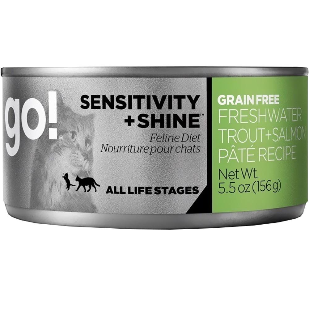 Petcurean Go Sensitivity + Shine Cat Food Freshwater Trout + Salmon Pate 24x5.5oz by Petcurean