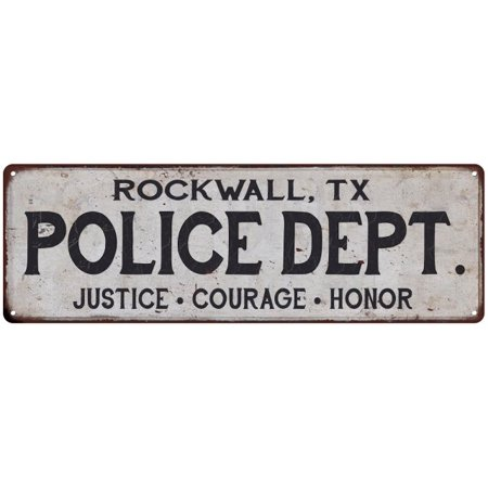 ROCKWALL, TX POLICE DEPT. Home Decor Metal Sign Gift 6x18 106180012876