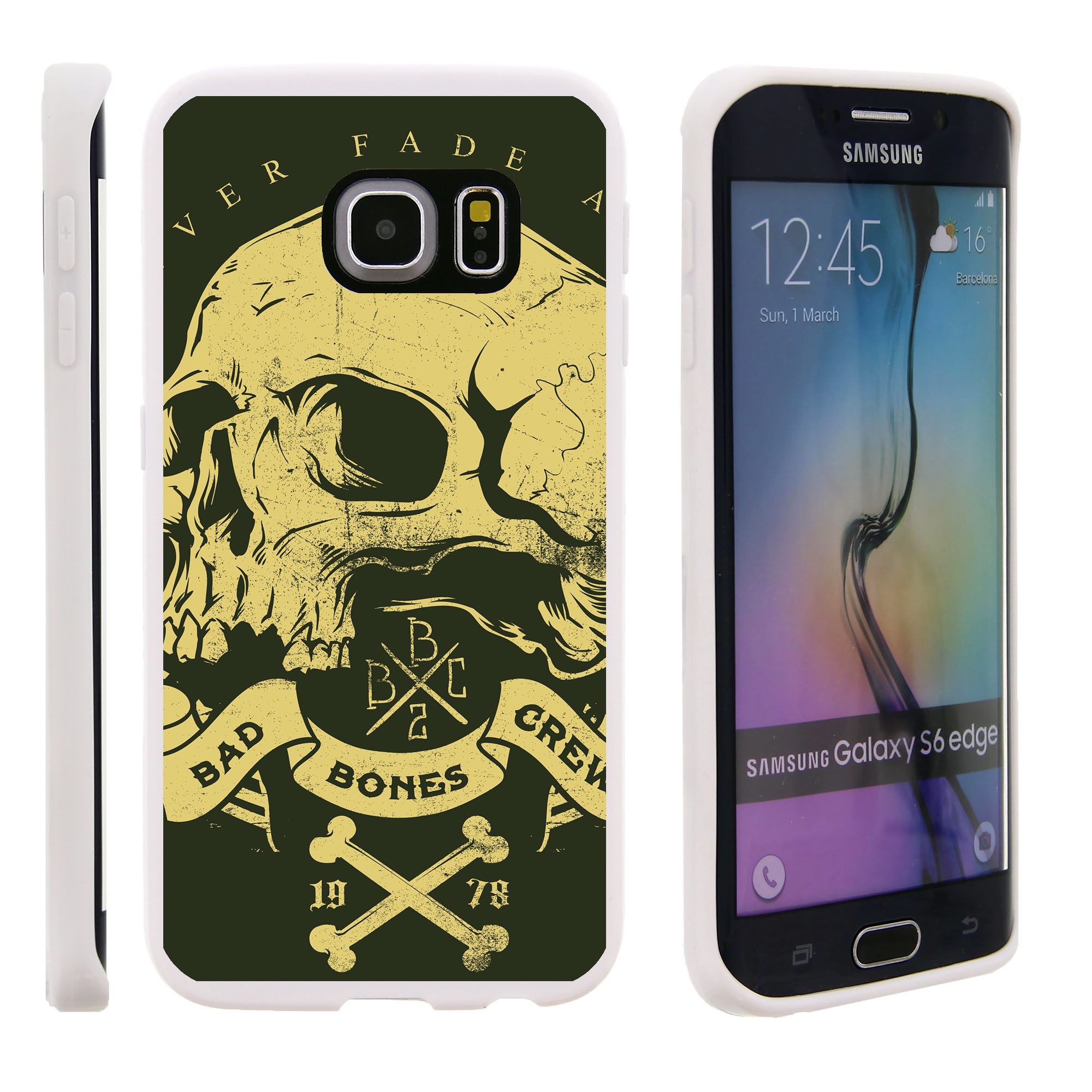 Samsung Galaxy S6 Edge G925, Flexible Case [FLEX FORCE] Slim Durable TPU Sleek Bumper with Unique Designs - Yellow Skull