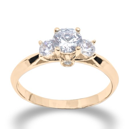 14K Solid Yellow Gold 1 Ct. Round 3 Stone CZ Engagement Ring