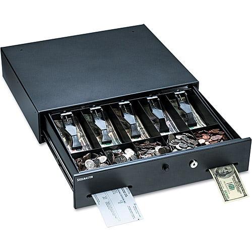 MMF Industries Steelmaster Alarm Alert Cash Drawer with Deadbolt/Push-Button Release Lock, Black