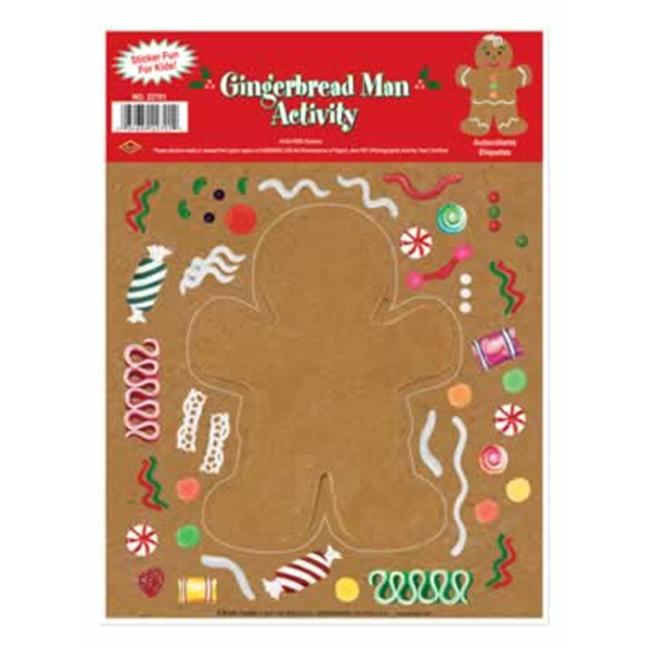 Beistle - 22701 - Gingerbread Man Sticker Activity- Pack of 12