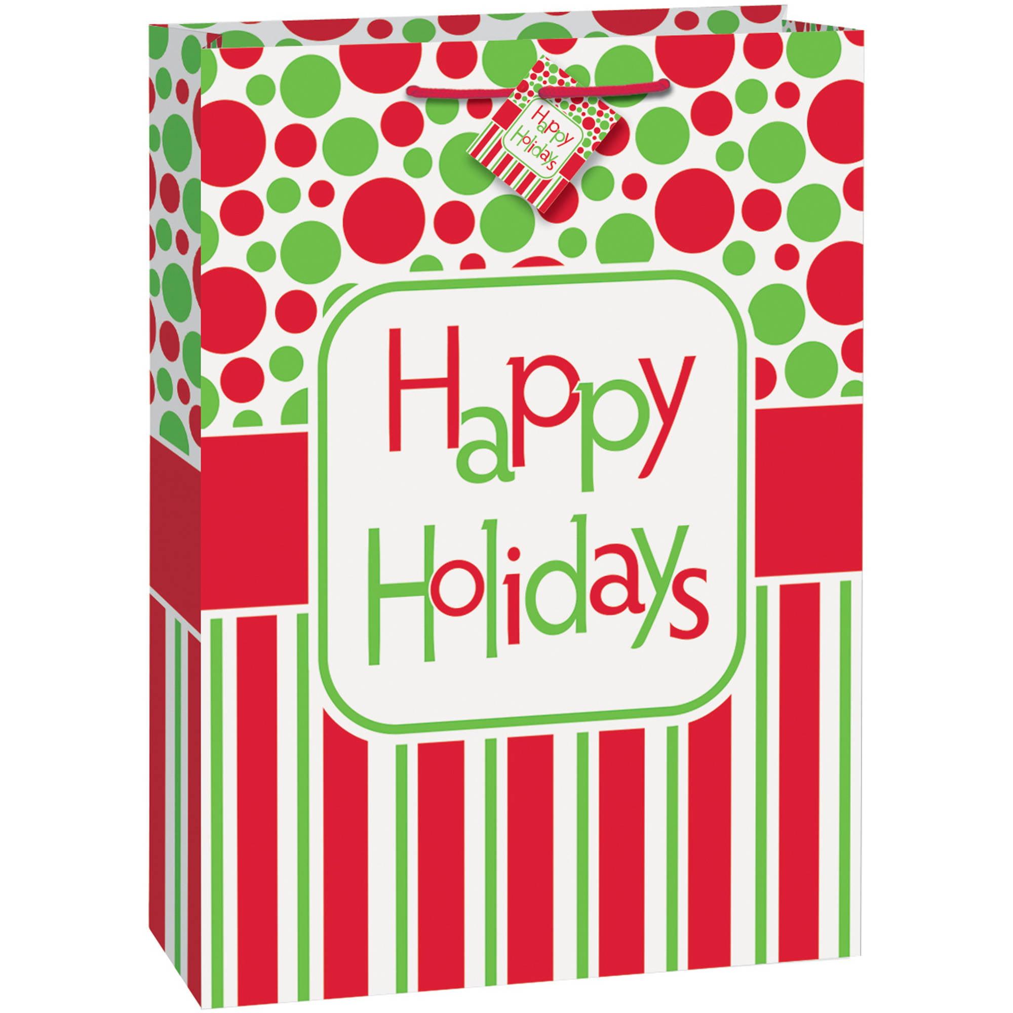 Jumbo Happy Holidays Gift Bag, 1ct