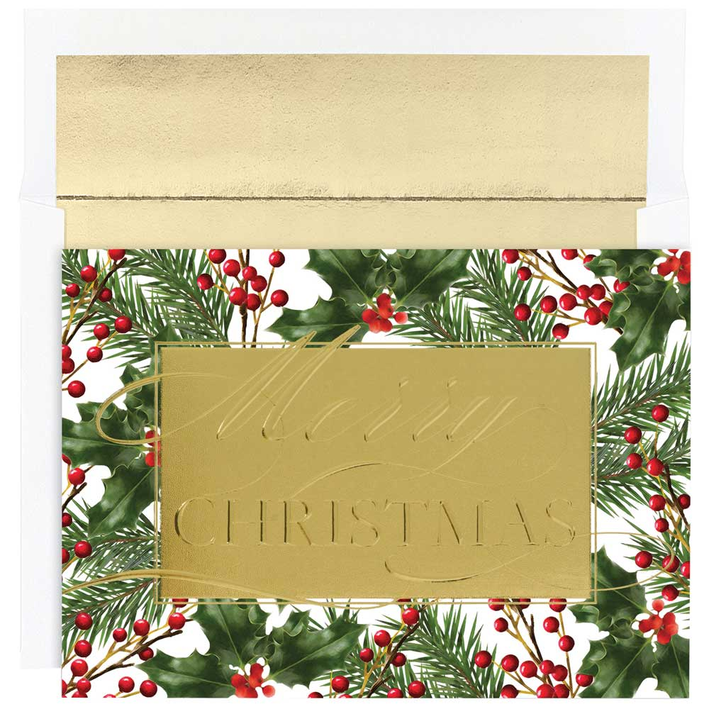 JAM Paper Christmas Card Set, Merry Christmas Greeting Cards, 16/pack