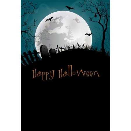 HelloDecor Polyster 5x7ft Spooky Halloween Night Scary Graves Bats Full Moon Photography Backdrops Indoor Studio Backgrounds Photo Props - Grave Halloween Full