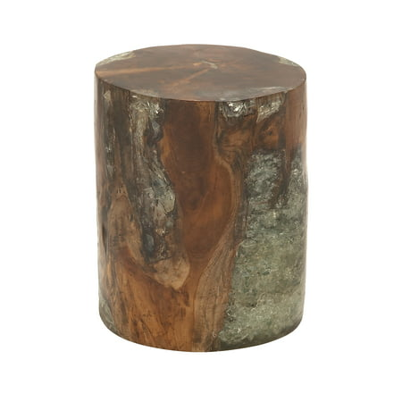 Decmode Natural 16 Inch Teak Wood and Resin Round Stool, Brown ...