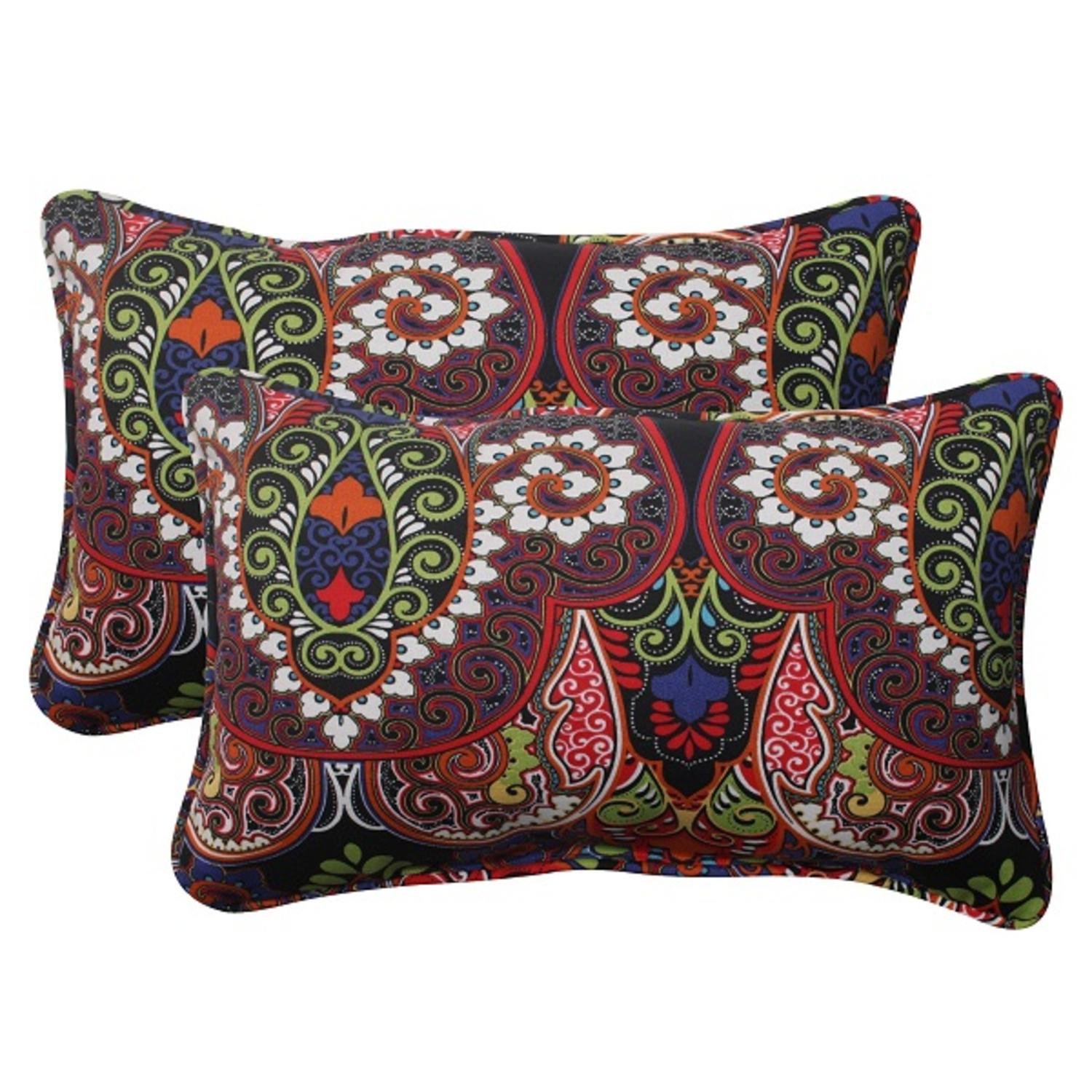 Set of 2 Black Paisely Maze Outdoor Corded Rectangular Throw Pillows 18.5""
