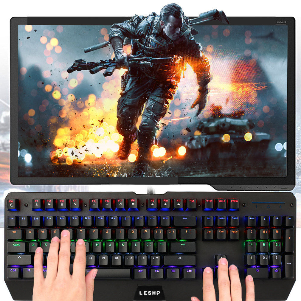 Gaming Industrial Office USB Wired Mechanical Keyboard With LED Backlight Black for Professional Internet Users