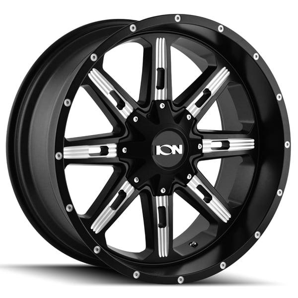 "17"" Inch Ion 184 17x9 6x135/6x139.7(6x5.5"") -12mm Black/Milled Wheel Rim"