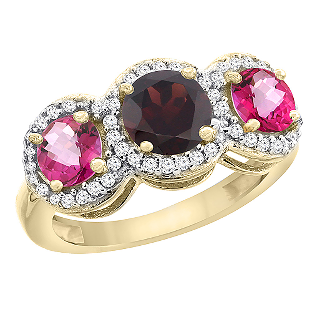 10K Yellow Gold Natural Garnet & Pink Topaz Sides Round 3-stone Ring Diamond Accents, sizes 5 10 by WorldJewels