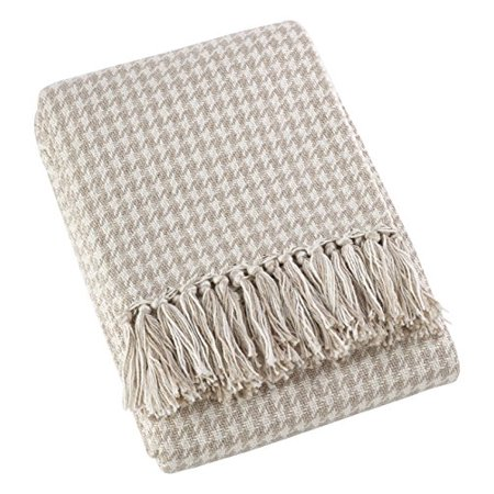 Saro LifeStyle TH268.N5060  Sevan Collection Soft Cotton Houndstooth Throw Blanket , Natural, (Soft Style Cotton)