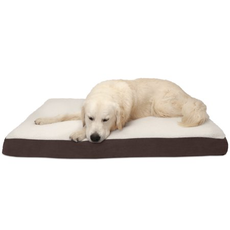 Orthopedic Pet Bed - FurHaven Pet Dog Mattress | Deluxe Orthopedic Sherpa Pet Bed Mattress for Dogs & Cats, Espresso, Jumbo