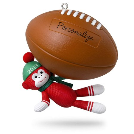 Hallmark Keepsake Personalized Christmas Ornament 2018 Year Dated, Football Star Sock Monkey](Personalized Football Ornaments)