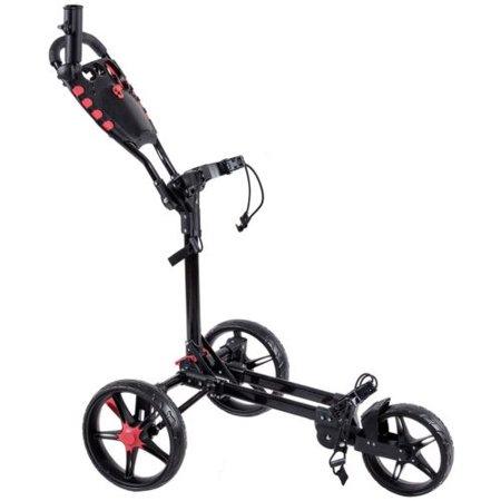 GHP Black & Red Aluminum PP & EVA Cover Wheels Adjustable Push Handle Folding Golf Cart