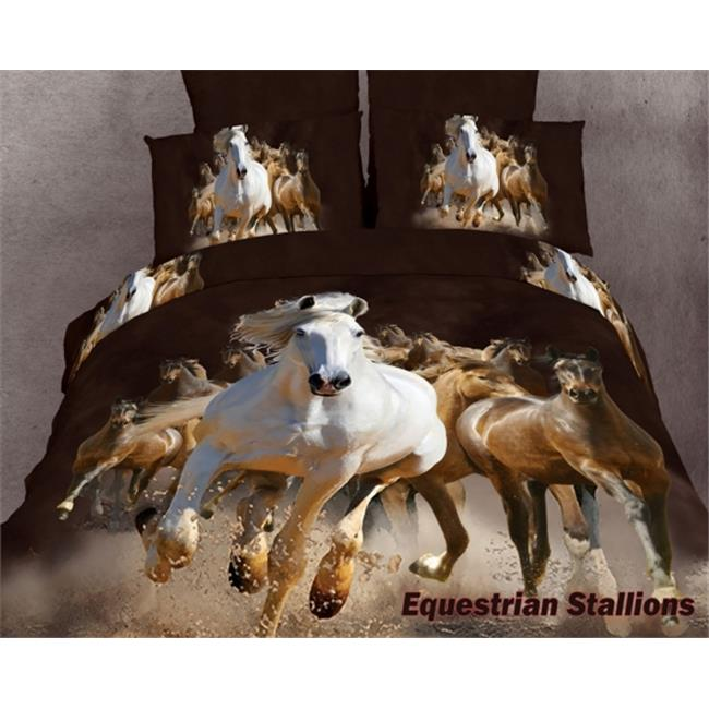 Dolce Mela - Equestrian Stallions  Luxury 6 Pieces Duvet Cover Set Horse Lovers King Size Bedding DM424K