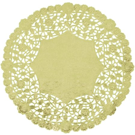 Gold Metallic 6 inch Lace Circle Doilies Doily, 100 pack - Gold Doilies