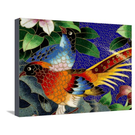 Cloisonne Button (Bird Cloisonne Plate, Hand Made with Tiny Copper Wires and Powered Enamel, China Stretched Canvas Print Wall Art By Cindy Miller Hopkins )