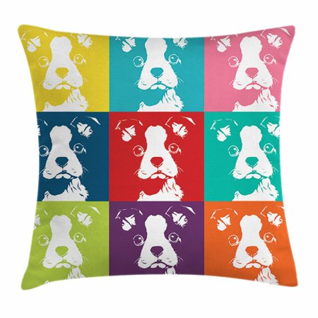 Boston Terrier Throw Pillow Cushion Cover, Colorful Pop Art Inspired Composition of Dog Portraits House Pet Pattern, Decorative Square Accent Pillow Case, 18 X 18 Inches, Multicolor, by Ambesonne
