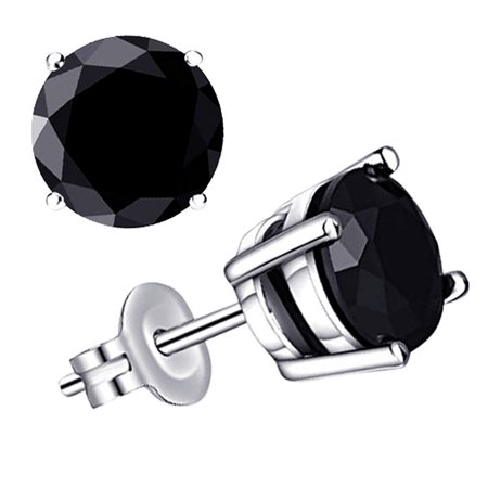 925 Sterling Silver 0.5 Carat Natural Black Diamond Stud Earrings by Orchid Jewelry For Women + Free Jewelry Velvet Pouch Black Stud Earring Box