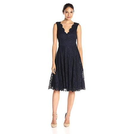 Vera Wang Sleeveless Double V Neck Scallop Lace Cocktail Dress