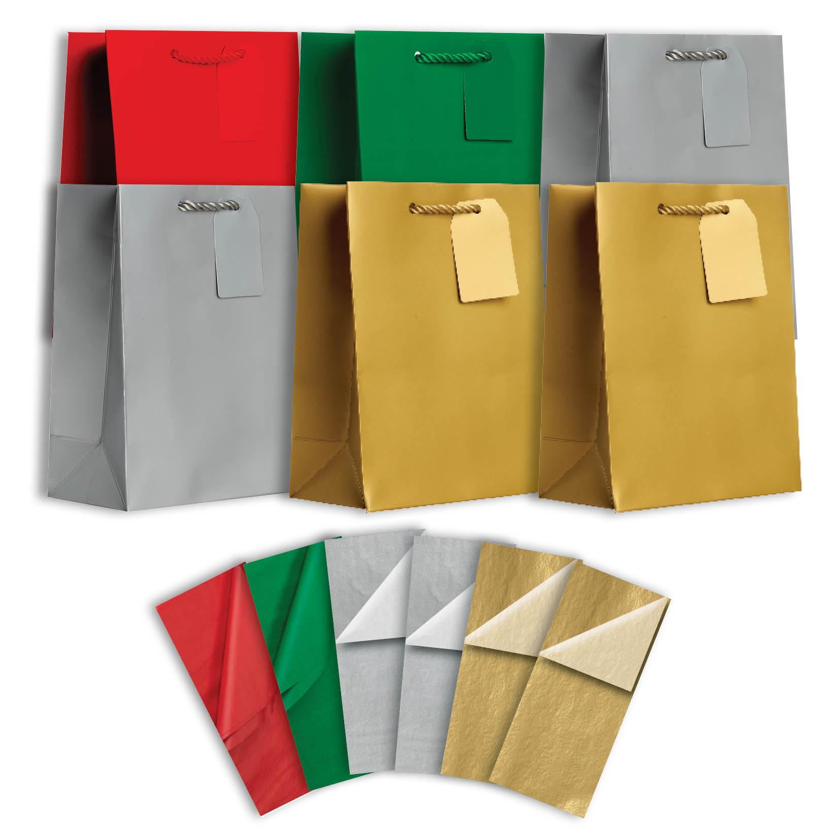 Jillson & Roberts Solid Color Matte Medium Gift Bag & Tissue Assortment, Christmas (6 Bags)