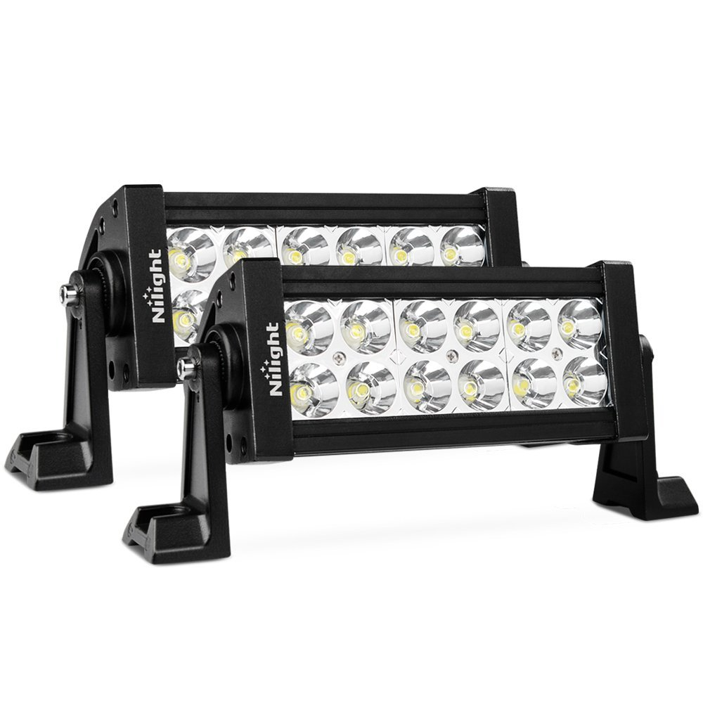 Nilight LED Light Bar 2PC 7Inch 36W Spot LED Work Light Off Road Led Bar 12v Driving Lights Super Bright for Jeep Cabin Boat SUV Truck ATVs,2 Years Warranty